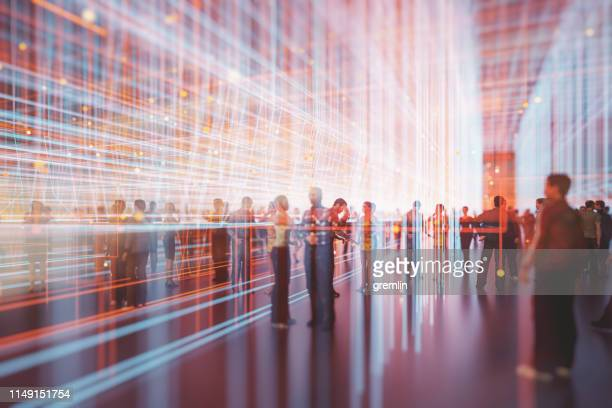 abstract crowds of people with virtual reality street display - people imagens e fotografias de stock