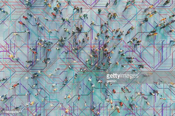 abstract crowds of people with virtual reality street display - complexity stock pictures, royalty-free photos & images