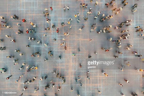 abstract crowds of people with virtual reality street display - big data city stock pictures, royalty-free photos & images