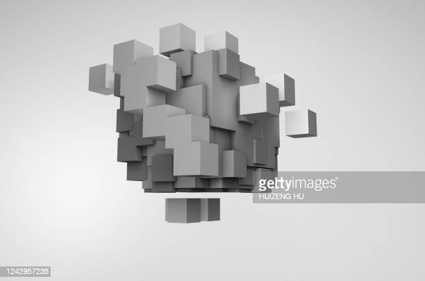 abstract cubes. futuristic, concept - square stock pictures, royalty-free photos & images