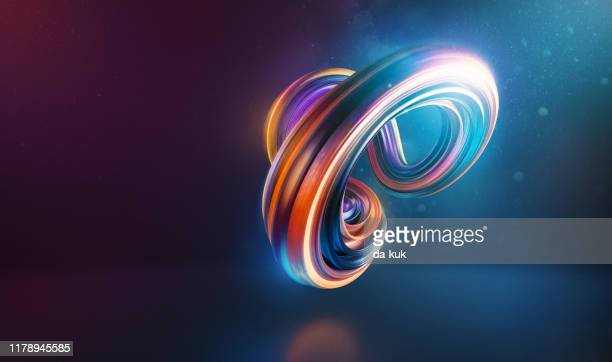 abstract curved and twisted shape 3d render - flexibility stock pictures, royalty-free photos & images
