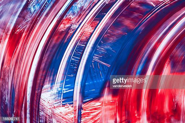 Abstract Curves In Red White And Blue