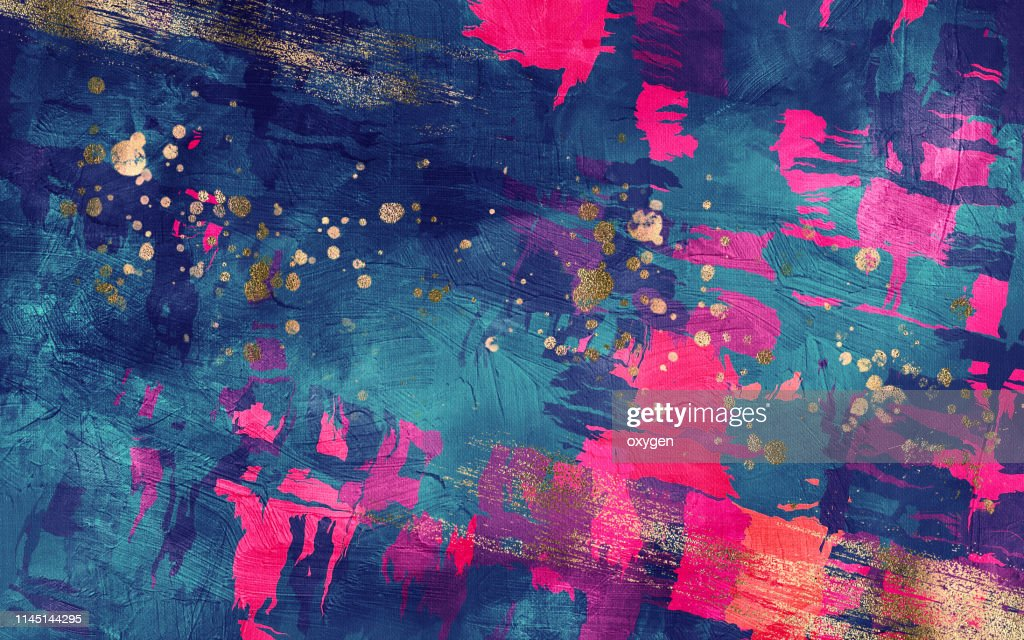 Abstract dark blue and magenta texture with gold inclusions background. Digital Illustration imitating oil painting on canvas : Stock Photo