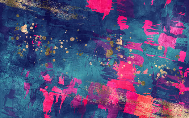 abstract dark blue and magenta texture with gold inclusions background. digital illustration imitating oil painting on canvas - 彩色影像 個照片及圖片檔