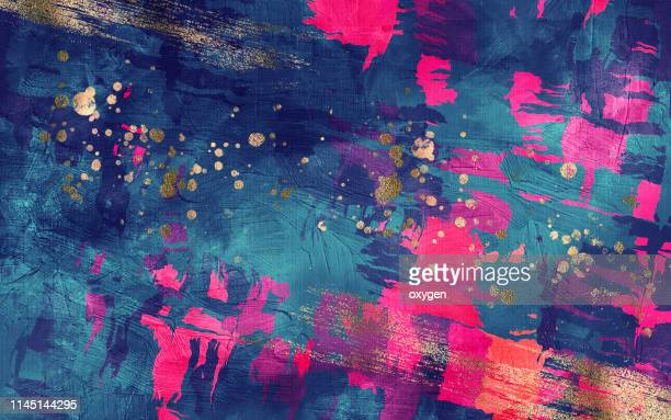 abstract dark blue and magenta texture with gold inclusions background. digital illustration imitating oil painting on canvas - abstrait photos et images de collection