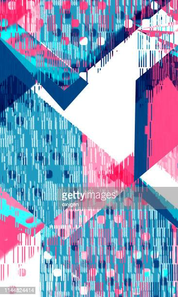 abstract dark blue and pink colored geometric triangle background - triangle percussion instrument stock photos and pictures
