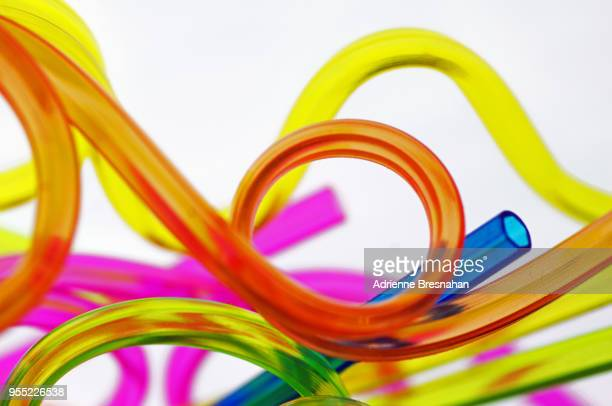 abstract design of colorful plastic tubing - 柔軟性 ストックフォトと画像