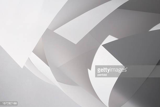 abstract design of white rolled shapes - translucent stock pictures, royalty-free photos & images