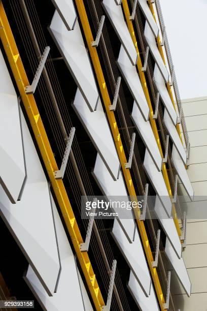 Abstract detail of exterior sun shading. Siemens Masdar, Abu Dhabi, United Arab Emirates. Architect: Sheppard Robson, 2014.