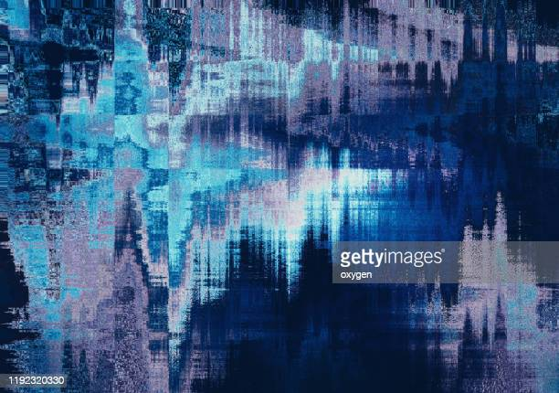 abstract digital classic blue pixel noise wave glitch error damage background - 問題 ストックフォトと画像