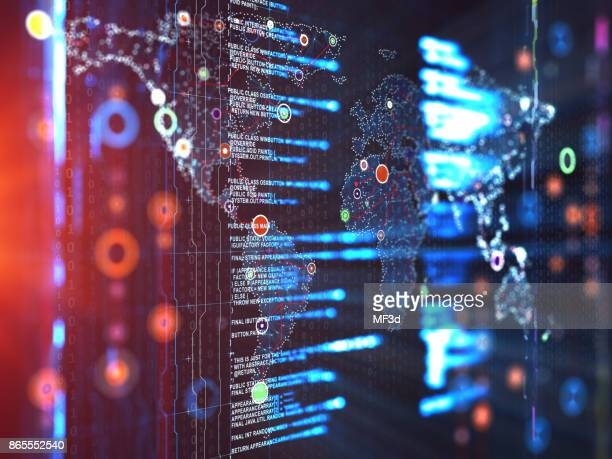 abstract digital network communication - world map stock photos and pictures