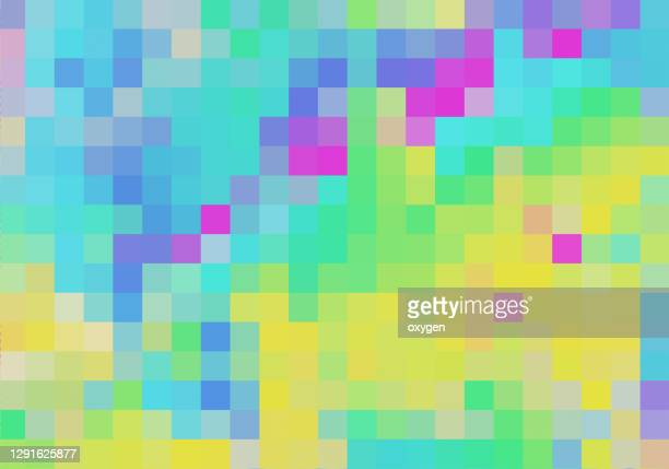 abstract digital vibrant neon pixel noise glitch error damage background - square stock pictures, royalty-free photos & images
