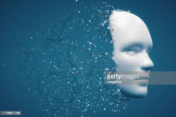 abstract disintegrating human face - artificial intelligence stock pictures, royalty-free photos & images