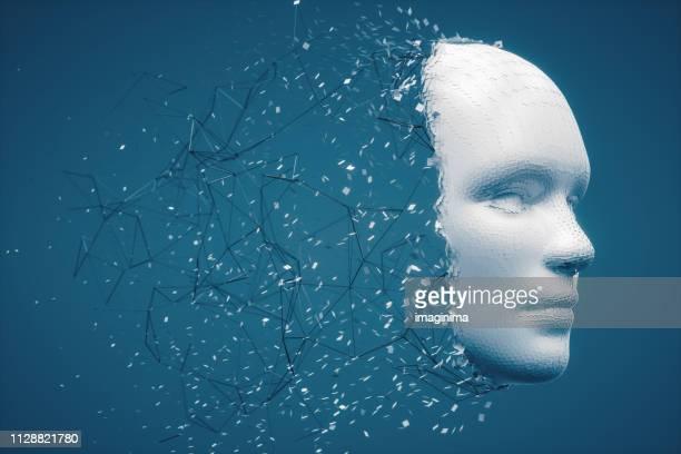 abstracte allerlichtste menselijk gezicht - kunstmatige intelligentie stockfoto's en -beelden