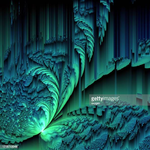 abstract distorted blue green glitch texture colorful background. geometric futuristic. - emerald green stock pictures, royalty-free photos & images