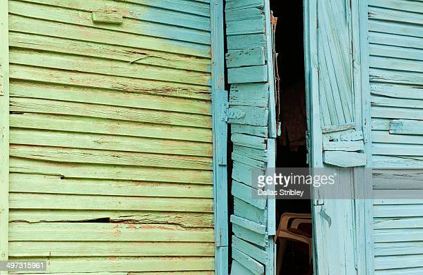 Abstract door detail of a colourful Caribbean home