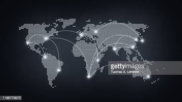 abstract dotted world map with connecting lines in black and white - global communications stock pictures, royalty-free photos & images