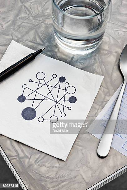 abstract drawing on table napkin