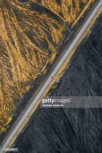 Abstract drone view of road in Iceland