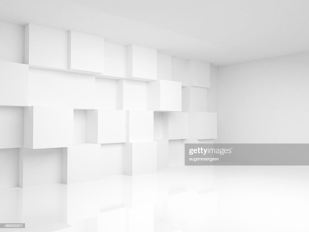 Abstract empty 3d interior with white cubes on the wall : Stock Photo
