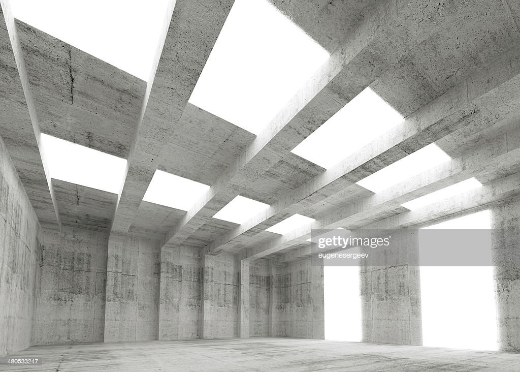 Abstract empty concrete 3d interior with lights and beams : Stock Photo