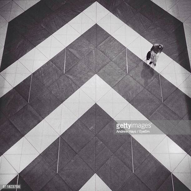 Abstract floor with one man