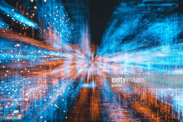 abstracte vloeiende gegevens achtergrond - digitaal beeld stockfoto's en -beelden
