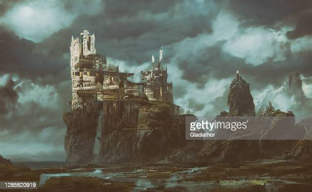 abstract futuristic apocalyptic background - castle stock pictures, royalty-free photos & images