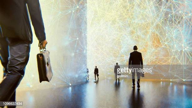 abstract futuristic businessmen walking - conformity stock pictures, royalty-free photos & images