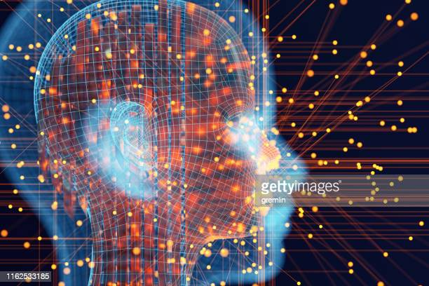 abstract futuristic cyborg ai head - human head stock pictures, royalty-free photos & images
