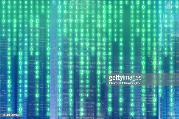 abstract futuristic digital binary technology with smart city in background for design innovation concept background - bitcoin stock pictures, royalty-free photos & images