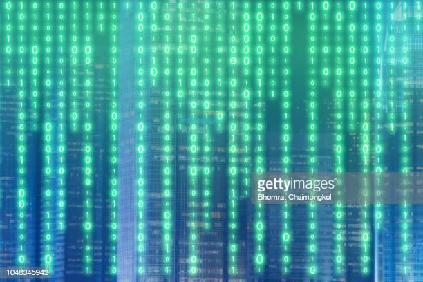abstract futuristic digital binary technology with smart city in background for design innovation concept background - kryptowährung stock-fotos und bilder