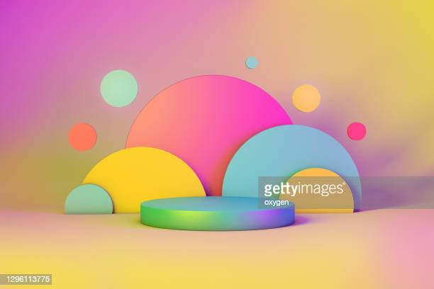 abstract geometric 3d rendering circle cylinder background.  minimalism vibrant still life style - bright colour stock pictures, royalty-free photos & images