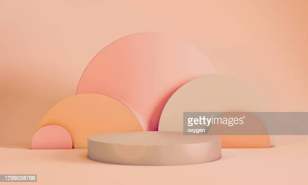 abstract geometric 3d rendering circle cylinder podium background. minimalism pastel colored still life style - tridimensionale foto e immagini stock