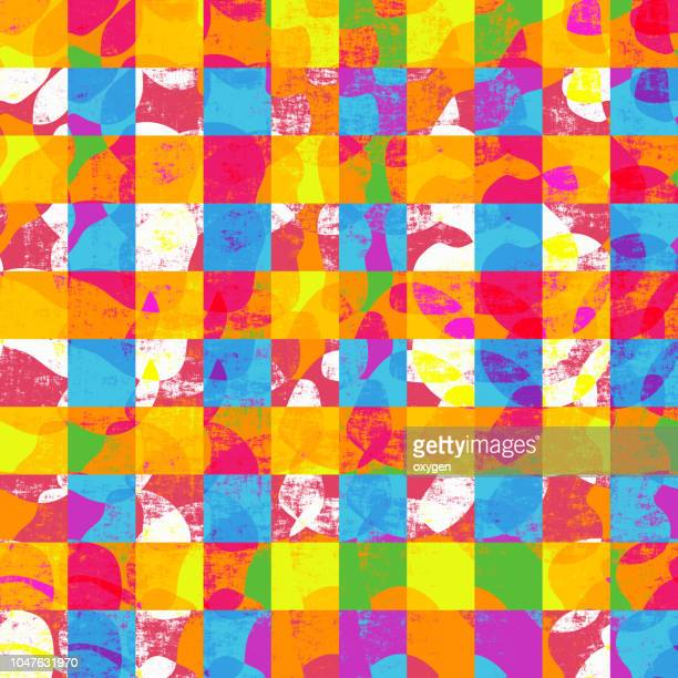 abstract geometric colorful checked background - ギンガムチェック ストックフォトと画像