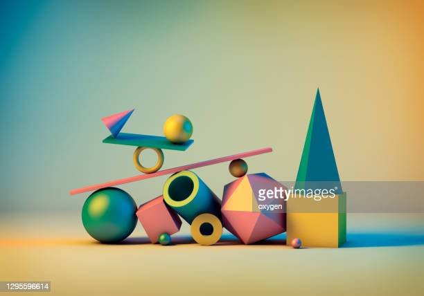 abstract geometric elements background. 3d rendering objects shapes: spheres, cone, tube, box. minimalism still life style - shape stock pictures, royalty-free photos & images