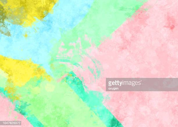 abstract geometric paper background in soft pastel pink and blue colors - watercolor background stock pictures, royalty-free photos & images