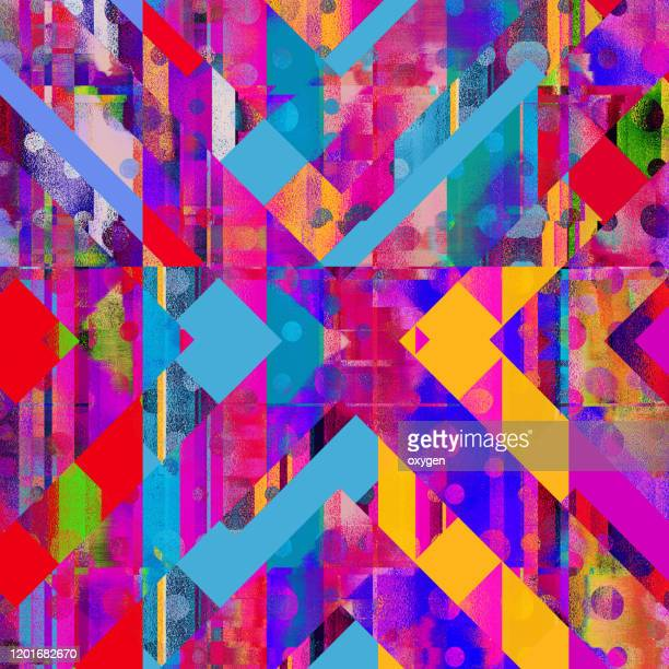abstract geometric polygonal multicolored seamless pattern background - 多彩な背景 ストックフォトと画像