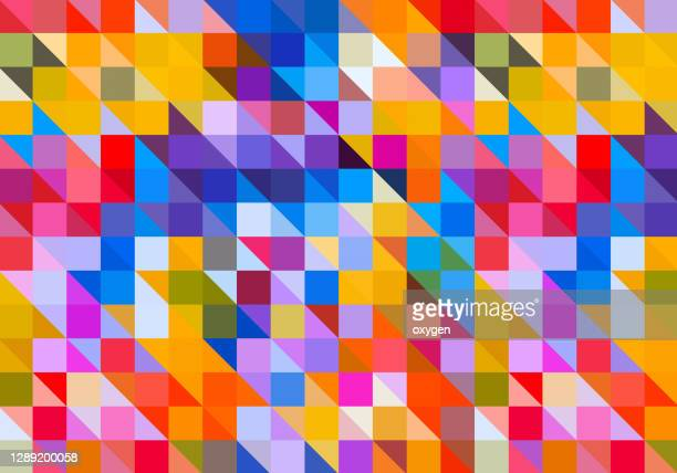 abstract geometric triangle square shape technology multicolored seamless pattern background - carré composition photos et images de collection