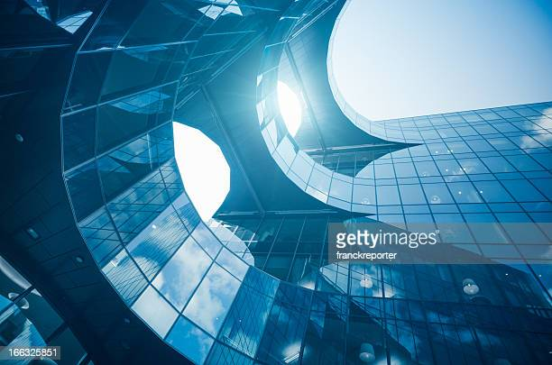 Abstract glass building against sunlight
