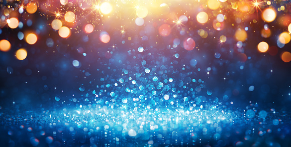 Abstract Glittering - Blue Glitter With Golden Christmas Lights And Shiny sparkling Background 1062252008
