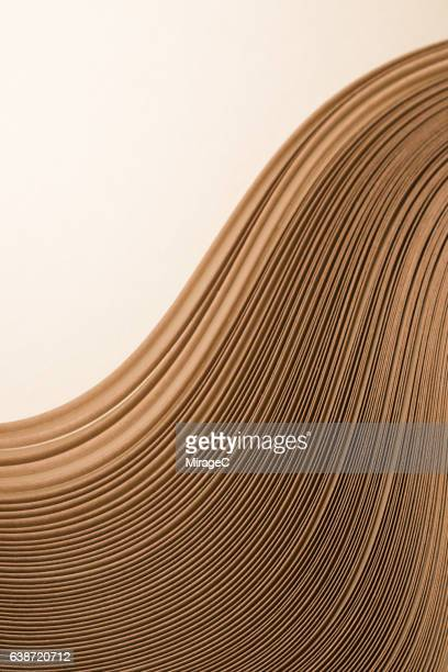 Abstract Gold Colored Paper Stripes Wave