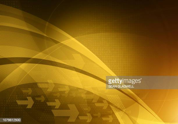 abstract golden arrows backdrop - curved arrows stock-fotos und bilder