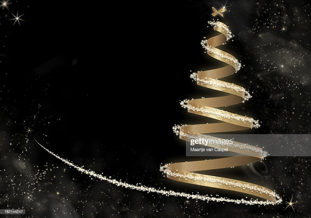 Abstract Golden Christmas Tree card : Stock Photo