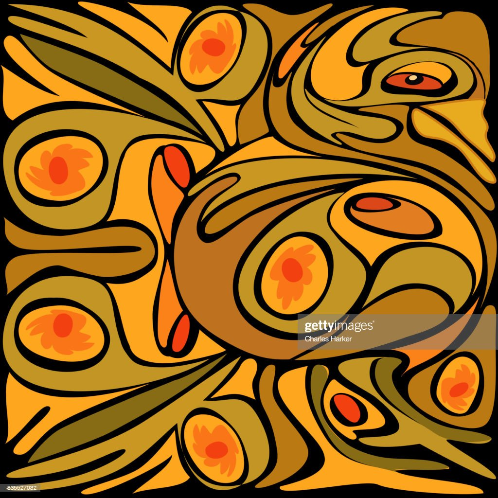 Abstract Golden Color Rooster Pattern : Stock Photo