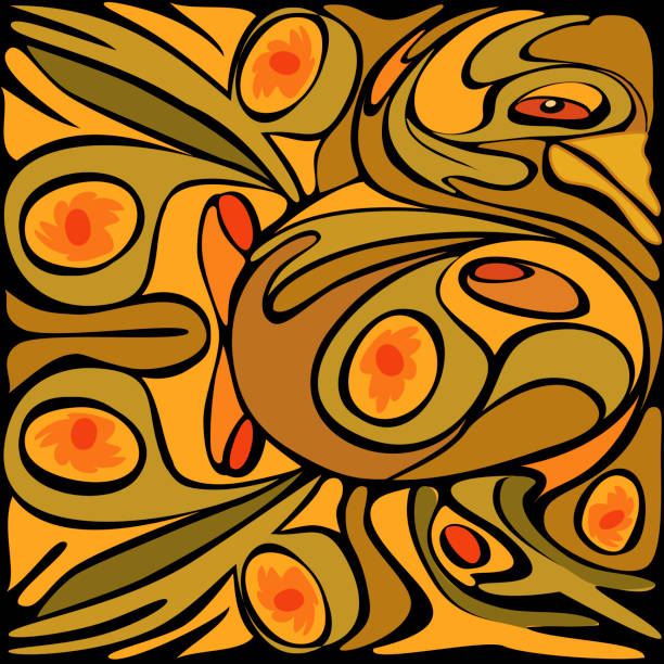 Abstract Golden Color Rooster Pattern
