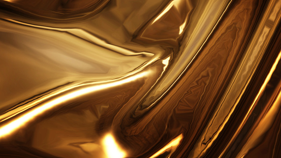 Abstract golden liquid smooth background with waves luxury. 3d illustration 1137699593