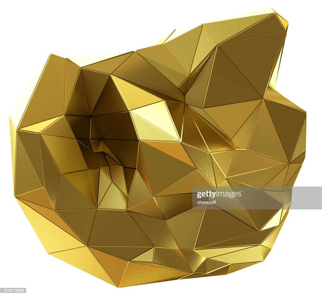 Abstract golden shape isolated on white : Stock-Foto