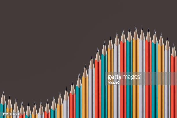 abstract graph made of pencils - curve stock pictures, royalty-free photos & images