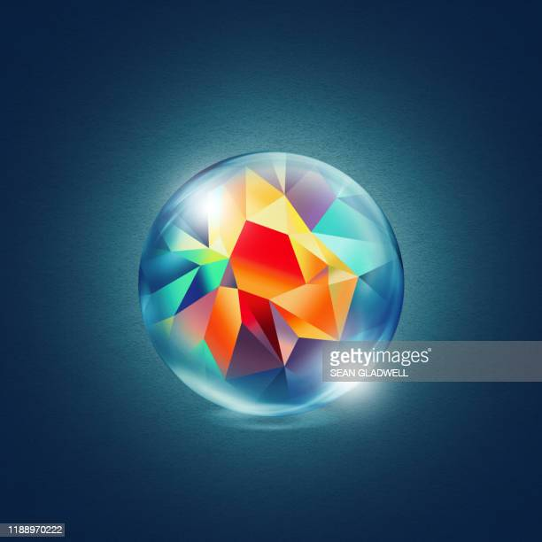 abstract graphic colours in glass sphere - logo stock pictures, royalty-free photos & images